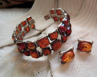 Vintage Mexican Silver and Amber Bracelet and Earrings Set