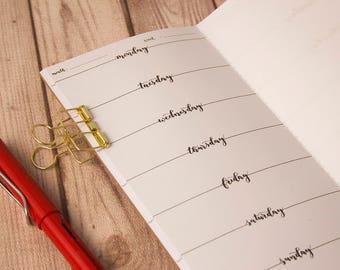 WO1P Planner, Lettering Weekly planner, Week on 1 page, Midori insert, Travelers notebook, Midori notebook, Fauxdori insert, Undated planner