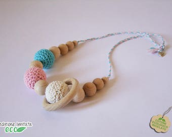 Nursing necklace recycled cotton white pink turquoise