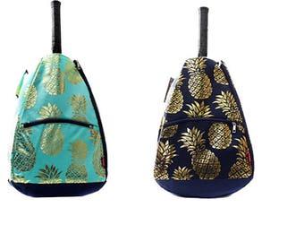 FREE MONOGRAM Gold Pineapple Tennis Racket Bag