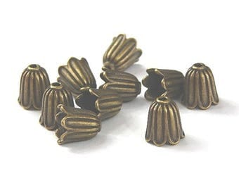 10 bead caps cones color flower shape bronze 10mm