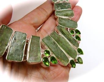 Rare Green Kyanite and Peridot Crystal Silver Chain Bib Necklace