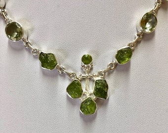 ONSALE Genuine Raw Peridot Sterling Silver Chain Necklace