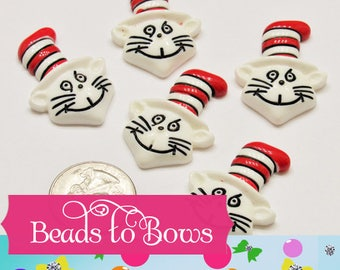 Cat In A Hat Cabochons, Scrapbooks, Phone Cases, Hairbow Centers, Zipper Pull, Card Making Craft Supply,