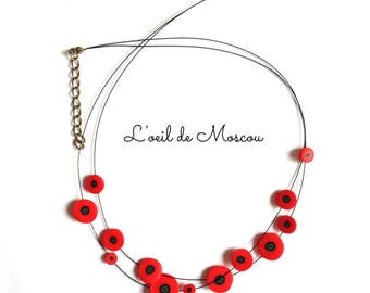red poppies on black wire Flower necklace