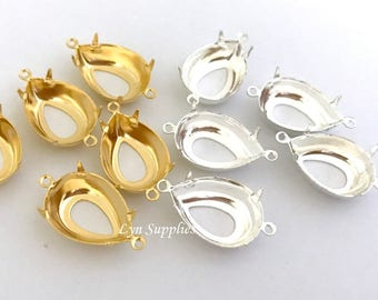14x10mm Pear Teardrop Setting OPEN BACK 2 Loops 24K Gold Plated / Sterling Silver Plated 10pieces