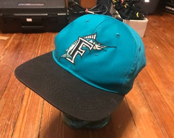 Vintage old Florida Marlins snap back MLB baseball hat rare