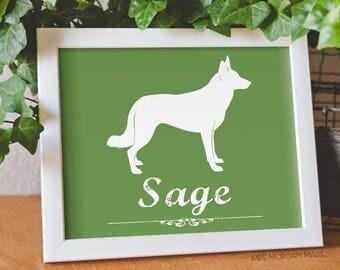 Border Collie personalized pet gift, smooth border collie, dog memorial, dog lover, silhouette of dog, custom dog gift. MrsMorgan-Dog:BRC02