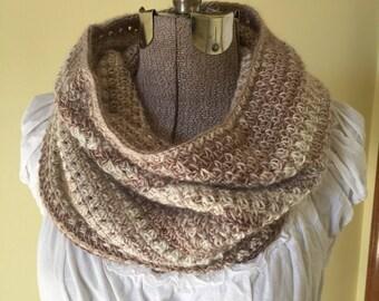 Crochet Cowl,  Pullover Collar, Infinity Scarf, Cream, Cafe Au Lait, Soft Scarflet, Snood, Handmade Scarf