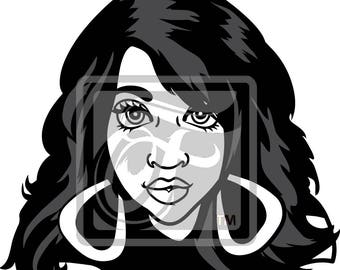 Focsi Lady with Straight Hair SVG