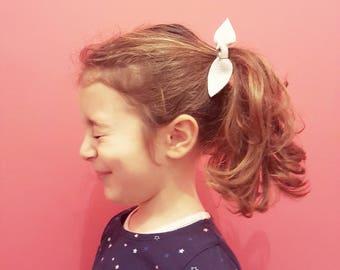 Elastico per capelli con fiocco in vera pelle