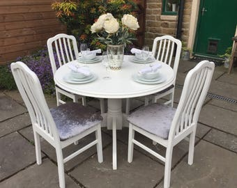 Shabby Chic Round Dining Table & 4 Chairs