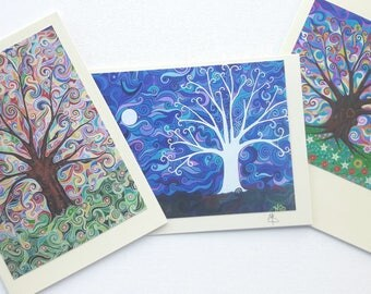 Tree of Life Art Nouveau Pagan Greeting Cards Psychedelic Birthday Cards Colorful Folk and Mindfulness Art Swirly Sky Pack of 3