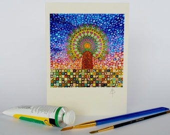 Mandala Tree Greeting Card from an Original Painting  by Mark Betson Artist