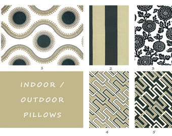 Indoor, Outdoor, Pillow Covers, Tan, Black, Ivory, Cream, Floral, Pillow, Floor, Cushion, Throw, Toss, Deck, Patio, Summer, Pool, Pillow