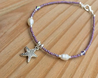 STARFISH ANKLET pearl anklet purple anklet beachy anklet beachy jewelry purple crystal Swarovski Summer Jewelry