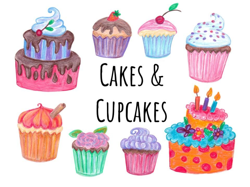 hand drawn cake and cupcakes clipart, doodle cake clip art, hand