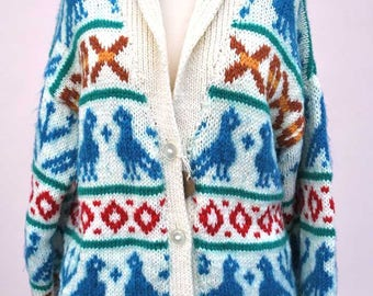 Fabulous Vintage Starskey and Hutch Cardigan • Hand Knitted Cowichan