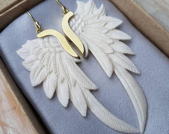Angels Wing Earrings Hand Carved from Bone and Finished in Brass or Sterling Silver - Super Wing Design- Feather Tribe