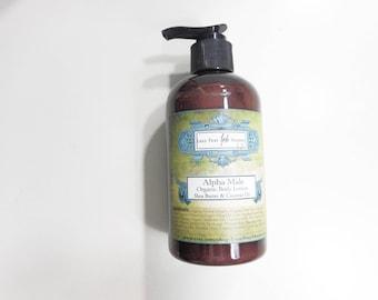 Alpha Male Organic Body Lotion - Le Male Inspired - Mint, Lavender and Bergamot - Organic Jojoba Oil, Shea Butter and Coconut Milk - 9.3 oz