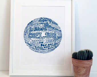 Chelsea Football Club Typography Print Poster