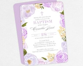 Baptism Invitation, Christening Invitation, Girl Baptism, Printable Baptism Invitation, PDF, Floral, Watercolor Flowers, Purple, Camilla