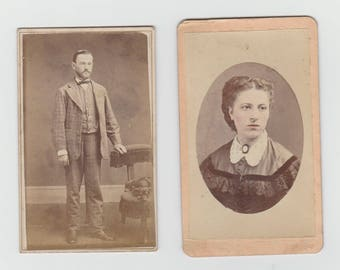 2 Victorian Small Size Cabinet Card Photos