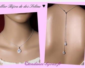Necklace bridal wedding with cubic zirconia wedding collar back drops back jewel