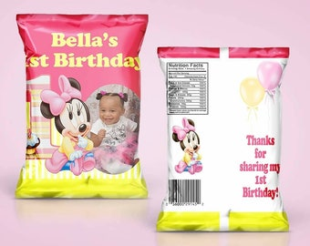 PRINTED Girl Mouse 1st Birthday Themed Chip Bag Treat Bag  - YOU ASSEMBLE(Read before ordering)