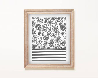 Print - Blooms and Stripes  |   8x10 Art Print, Illustrated, Floral, Flowers, Botanical, Stripes, Baby Nursery, Nautical
