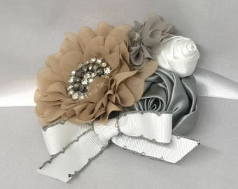 Taupe Gray and White Wedding Flower Wreath Dog Collar with Lace Flower Pearls Rhinestones Wedding Bridal Sash
