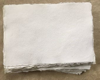 320gsm A4 Cotton Rag x 10, Khadi handmade paper sheets, A4 21x30cm 8.25x11.8inches, deckle edge, medium surface, handmade art paper