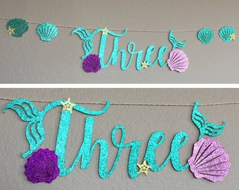Three Banner, table fireplace photo prop, Little Mermaid Ariel, Mermaid Letters, Happy Birthday Under The Sea Party Decor, gold starfish,