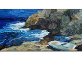 Small seascape painting, boats oil painting on stretched canvas, white boat, impressionist style art
