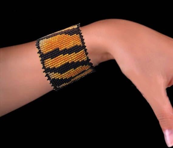 Tiger Skin Bead Bracelet Original Fashion Design Extravaganza Gift Designer Cuff Wide Men Women