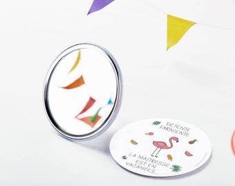 Pocket mirror - season gift - teacher end of year school - year gift - B