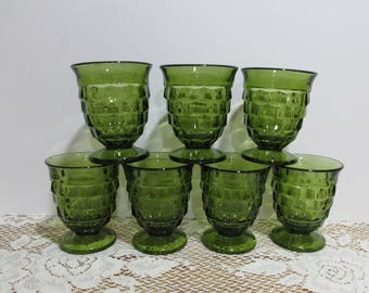 Whitehall Cube Glasses ~ Avocado Green Glasses ~ Set of 7 ~ Indiana Glass ~ Retro Glassware ~Heavy Footed Glasses ~Green
