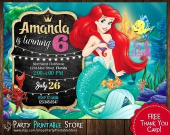 Little Mermaid Invitation, Little Mermaid Birthday Invitations,  Ariel birthday invitations, Little Mermaid birthday party