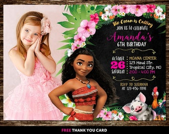 Moana Invitation With Photo, Moana Invitation With Picture, Moana Birthday Invitation With Photo, Moana Invitation Printable, Moana Invite