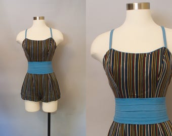 1950s Catalina Metallic Pinup Swimsuit / 1950s Striped Swimsuit / Bombshell Bathing Suit