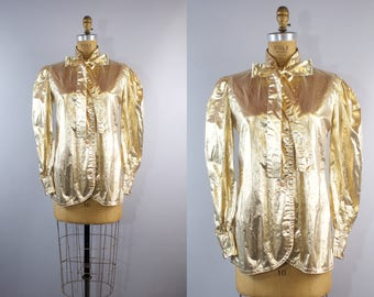 Hot Love Blouse / 1970s Gold Glam Blouse