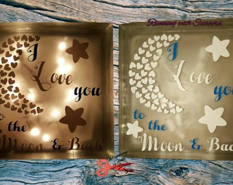 I love you to the moon and back- night light- light- night light lamp- room decor- baby shower