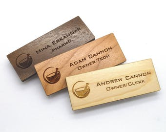 Wooden Name Tags - Laser engraved , with magnetic holder