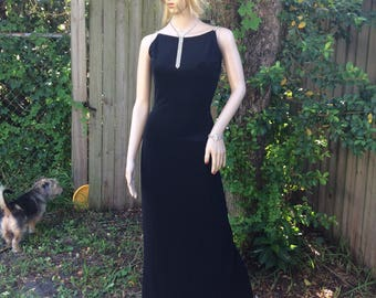 Black Evening gown Jessica McClintock Gunne Sax rhinestone shoulders size 5 made in U.S.A.