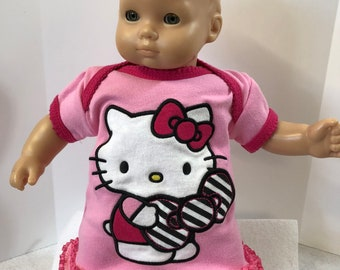 "15 inch Bitty Baby Clothes, Adorable ""HELLO KITTY"" Pink Dress, 15 inch American Doll Bitty Baby or Twin Doll, Love My Kitty Cat!"