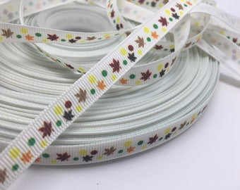 3 yards Fall Autumn foliage leaves grosgrain ribbon