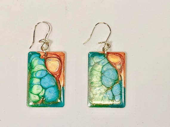 Handmade rectangular blue turquoise green orange enamel silver plated earrings with abstract designs
