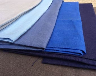 Blue linen fabric remnants, solid european natural linen, medium weight flax for sewing, patchwork, DIY craft projects