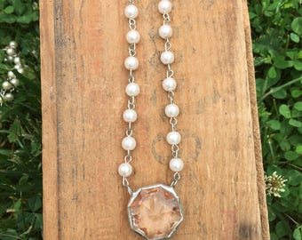 Chandelier Crystal amd Pearl Chain Necklace by LRM-Small Crystal