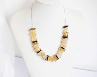 yellow necklace, citrin quartz necklace, citrin gemstone necklace, handmade necklace, citrin gemstone nuggets, ethnic necklace, bronze